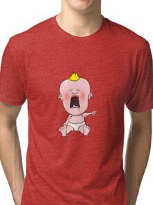 Crying cartoon baby Tri-blend T-Shirt