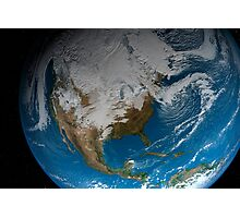 Full Earth showing simulated clouds over North America. Photographic Print
