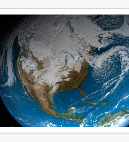 Full Earth showing simulated clouds over North America. Sticker