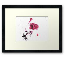 Chinese ink watercolor peony design Framed Print
