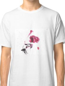 Chinese ink watercolor peony design Classic T-Shirt