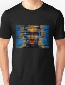 African male face on 3D textured background T-Shirt