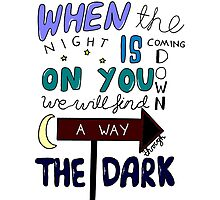 One Direction Through The Dark Lyrics in colour Photographic Print