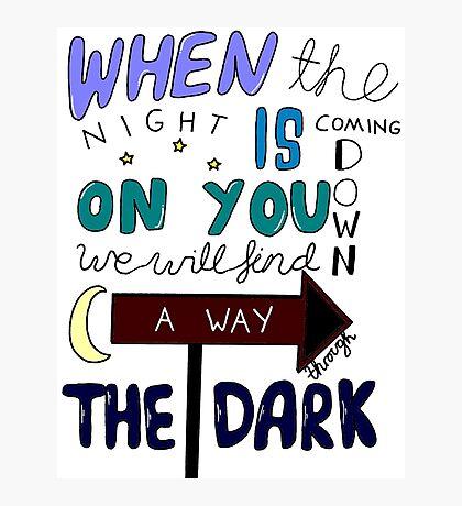 One Direction Through The Dark Lyrics in colour Photographic Print