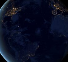 Digital composite of Earth's city lights at night, centered over the Atlantic Ocean. Sticker