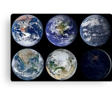 Image comparison of iconic views of planet Earth. Canvas Print