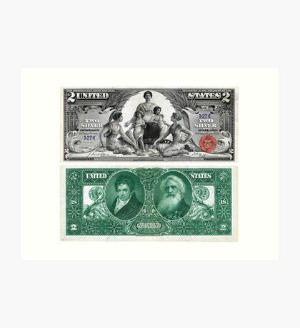 $2 (Two Dollar Bill) Silver Certificate Series of 1896 Art Print