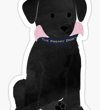 Cute Preppy Black Lab Puppy Dog Sticker