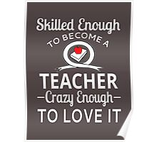 Skilled Enough To Become A Teacher Crazy Enough To Love It Poster