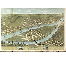 Bird's eye view of the City of Wheeling West Virginia (1870) Photographic Print