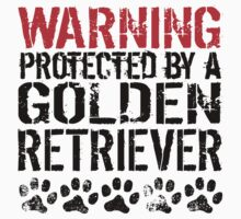 Warning Protected By A Golden Retriever One Piece - Short Sleeve