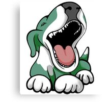 Laughing Bull Terrier White & Green Canvas Print