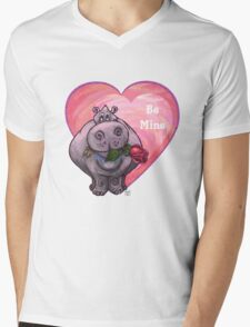 Hippopotamus Valentine's Day Mens V-Neck T-Shirt