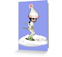 Skiing On The Snow Greeting Card