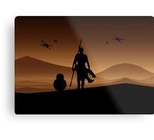 Rey and BB-8 Silhouette Art Metal Print