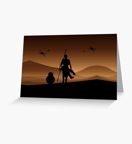 Rey and BB-8 Silhouette Art Greeting Card