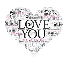 Word art - I love you valentines heart Photographic Print