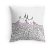 Princess Castle in Pink Trees  Throw Pillow