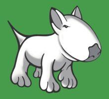 Cute English Bull Terrier Cartoon White Kids Tee