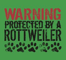 Warning Protected By A Rottweiler One Piece - Short Sleeve