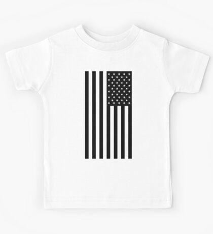 American Flag, BLACK, In Mourning, America, Americana, Stars & Stripes, White on Black, PORTRAIT, USA Kids Tee