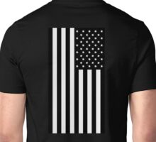 American Flag, BLACK, In Mourning, America, Americana, Stars & Stripes, White on Black, PORTRAIT, USA Unisex T-Shirt