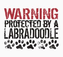Warning Protected By A Labradoodle Kids Tee