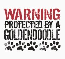 Warning Protected By A Goldendoodle Kids Tee
