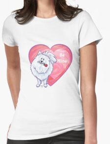 White Pomeranian Valentine's Day Womens Fitted T-Shirt