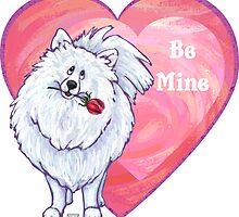 White Pomeranian Valentine's Day by ImagineThatNYC