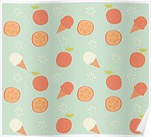 Orange and ice cream pattern Poster