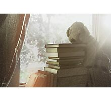 Soft vintage background for children. Childhood memory: Teddy dog sitting on books. Books stacked on the windowsill. Photographic Print