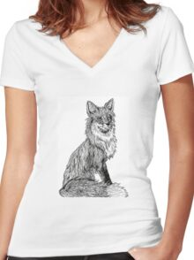 Ink Drawing Fox Women's Fitted V-Neck T-Shirt