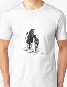 Ink Drawing Mare and Foal Unisex T-Shirt