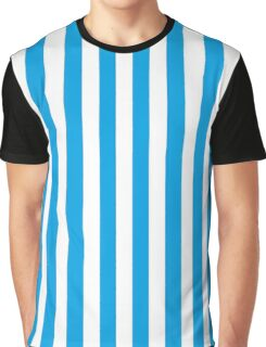 Turquoise Blue and White Stripes Graphic T-Shirt