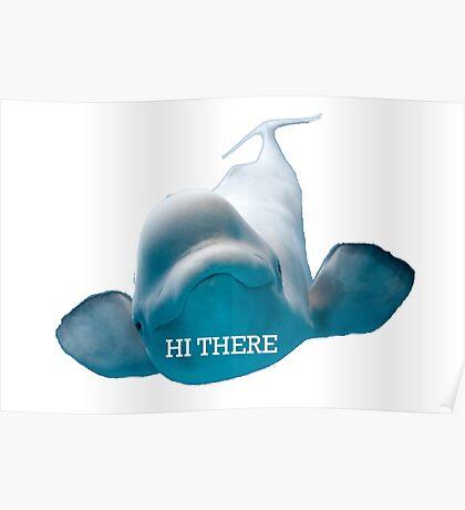 Hi There Beluga Whale Poster