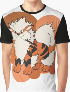 Arcanine On Bubble Background Graphic T-Shirt