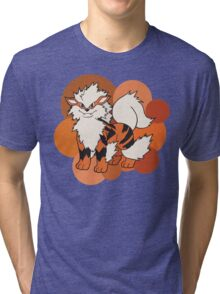 Arcanine On Bubble Background Tri-blend T-Shirt