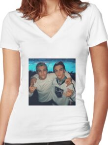 Dolan twins (hockey game) Women's Fitted V-Neck T-Shirt