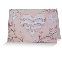 Heart Music: Love Music with Birds Greeting Card