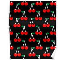 Cheri - minimal black and red valentine's day pattern cherries fruit simple gifts Poster