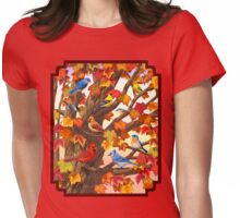 Autumn Maple Tree Bird Gathering Womens Fitted T-Shirt