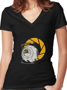 Space Core V2 (Portal 2) Women's Fitted V-Neck T-Shirt