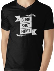 Burr Shot First (Black) Mens V-Neck T-Shirt
