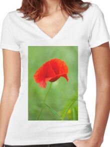 Beautiful photo of poppy Women's Fitted V-Neck T-Shirt