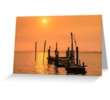 Old dock sunset Greeting Card