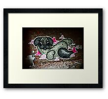A pug on clouds Framed Print