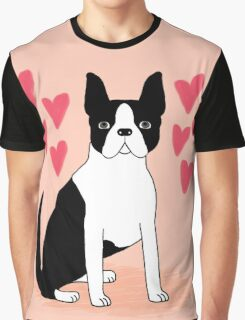 Boston Terrier Valentine Wuff You cute puppy black and white dog gift for lover Graphic T-Shirt