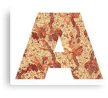 A, Indonesian Batik Alphabet Letter Canvas Print