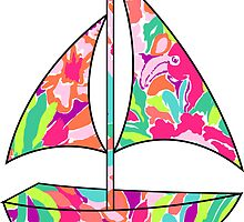 Lilly Pulitzer Inspired Sailboat Lulu by mlr28blu